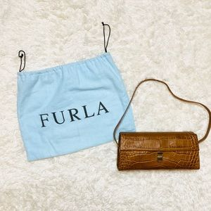 FURLA Cognac Crocodile Bag